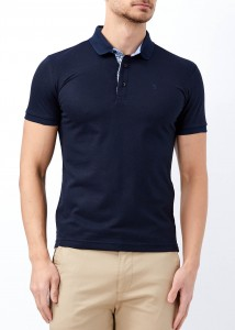 ADZE - Erkek Lacivert Slim Fit Düz Polo Yaka Tişört