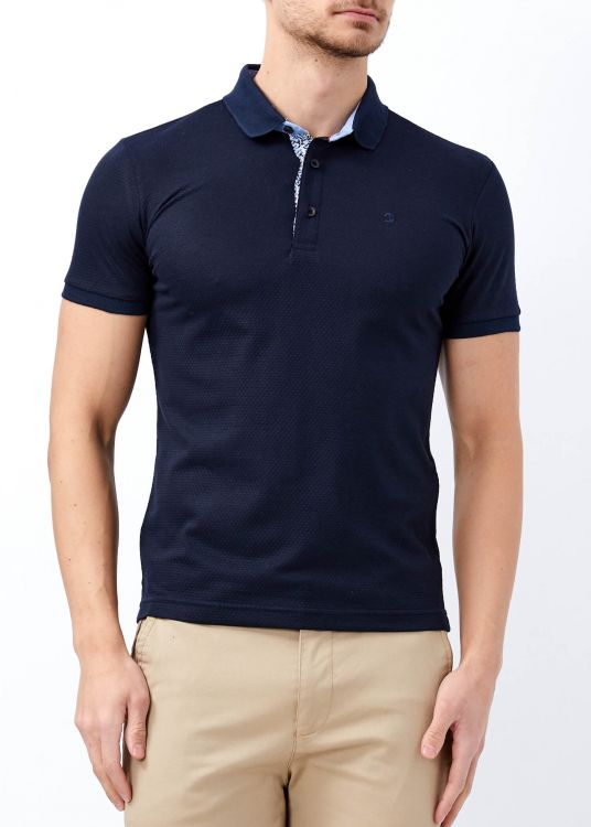 Erkek Lacivert Slim Fit Düz Polo Yaka Tişört