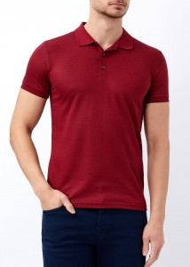 ADZE - Erkek Bordo Basic Slim Fit Polo Yaka Tişört