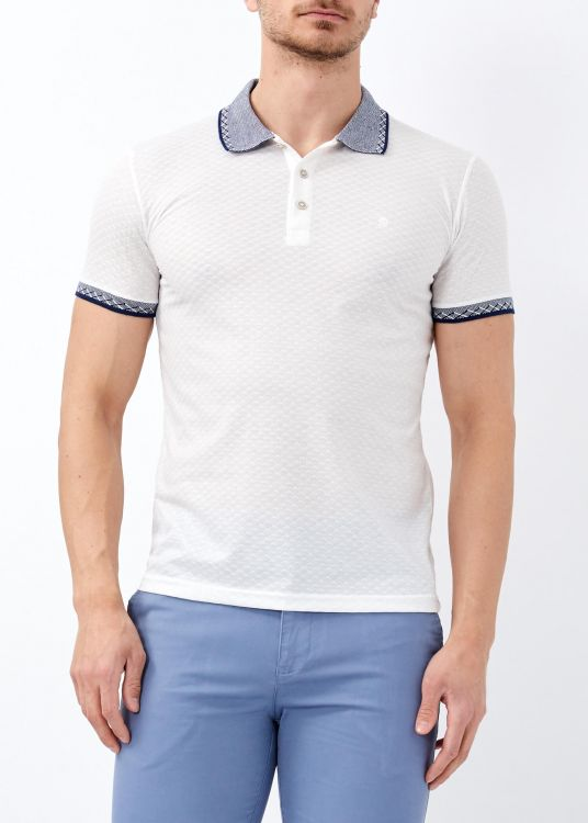 Erkek Beyaz Desenli Polo Yaka Tişört