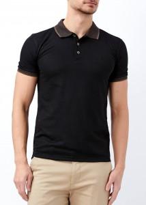 ADZE - Erkek Siyah Desenli Polo Yaka Tişört