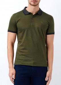 ADZE - Erkek Haki Desenli Polo Yaka Tişört