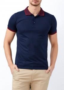 ADZE - Erkek Lacivert Desenli Polo Yaka Tişört