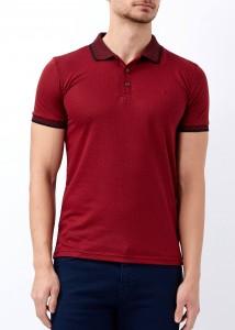 ADZE - Erkek Bordo Desenli Polo Yaka Tişört