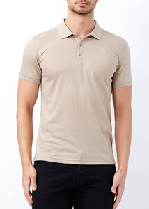 ADZE - Erkek Toprak Polo Yaka Jakarlı T-shirt