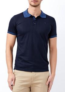 ADZE - Erkek Lacivert Slim Fit Jakarlı Polo Yaka Tişört