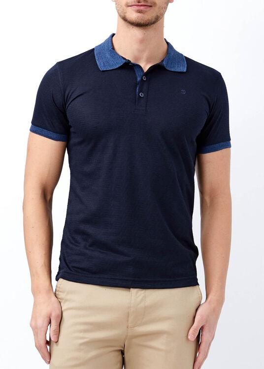 Erkek Lacivert Slim Fit Jakarlı Polo Yaka Tişört