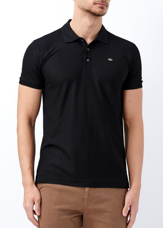Erkek Siyah Basic Pamuk Polo Yaka Tişört