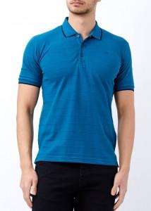 ADZE - Petrol Erkek Çizgili Polo Yaka Tişört