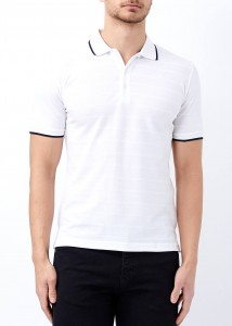 ADZE - Beyaz Erkek Çizgili Polo Yaka Tişört