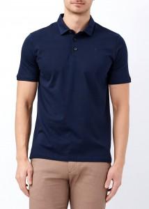 ADZE - Erkek Lacivert Düğmeli Klasik Polo Yaka Tişört