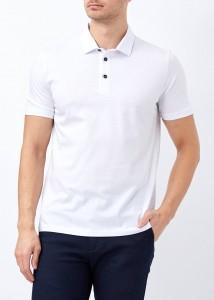ADZE - Erkek Beyaz Düğmeli Klasik Polo Yaka Tişört