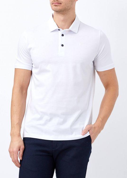 Erkek Beyaz Düğmeli Klasik Polo Yaka Tişört