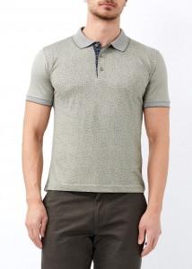 ADZE - Erkek Haki Çiçek Desenli Slim Fit Polo Yaka Tişört