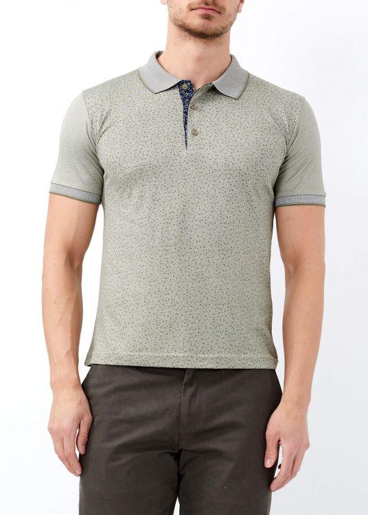 Haki Erkek Çiçek Desenli Slim Fit Polo Yaka Tişört