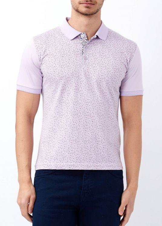 Lila Erkek Çiçek Desenli Slim Fit Polo Yaka Tişört