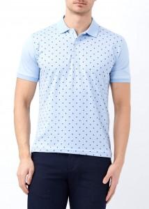 ADZE - Açık Mavi Erkek Yaprak Desenli Polo Yaka Tişört