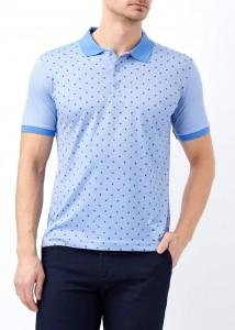 ADZE - Koyu Mavi Erkek Yaprak Desenli Polo Yaka Tişört