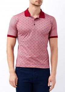 ADZE - Bordo Erkek Yaprak Desenli Polo Yaka Tişört