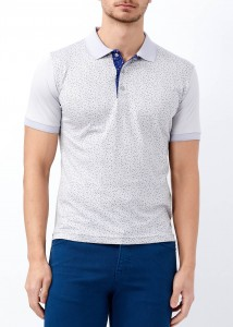 ADZE - Açık Gri Erkek Çiçek Desenli Slim Fit Polo Yaka Tişört
