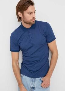ADZE TOPTAN - Toptan Erkek Indıgo Baskılı Düğmeli Polo Yaka T-shirt