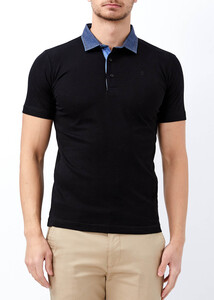 ADZE - Siyah Erkek Slim Fit Basic Düz Polo Yaka Tişört