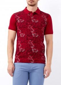 ADZE - Erkek Bordo Çiçek Baskılı Slim Fit Polo Yaka Tişört