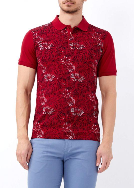 Erkek Bordo Çiçek Baskılı Slim Fit Polo Yaka Tişört