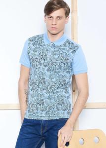 ADZE - Erkek Mavi Çiçek Baskılı Slim Fit Polo Yaka Tişört