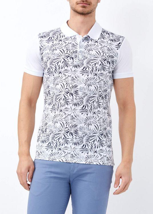 Erkek Beyaz Çiçek Baskılı Slim Fit Polo Yaka Tişört