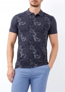 ADZE - Erkek Antrasit Çiçek Baskılı Slim Fit Polo Yaka Tişört
