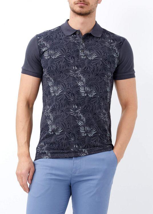 Erkek Antrasit Çiçek Baskılı Slim Fit Polo Yaka Tişört