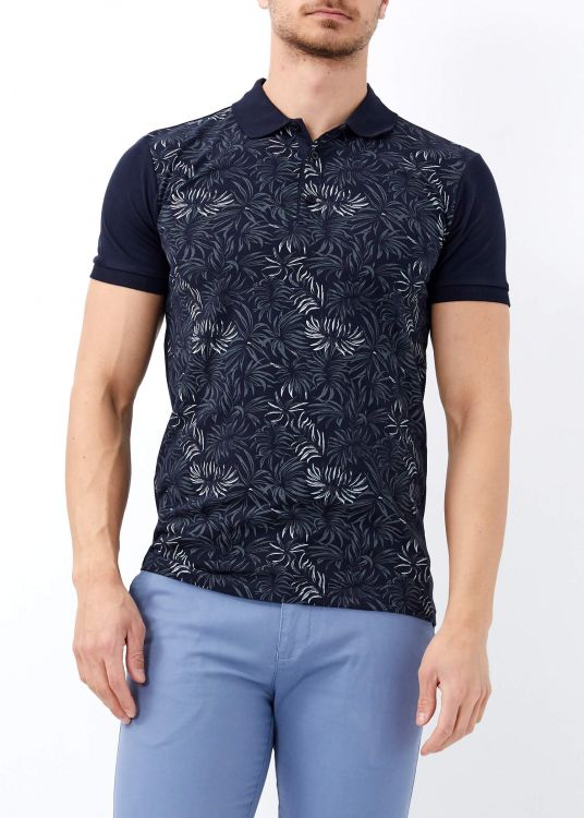 Erkek Lacivert Çiçek Baskılı Slim Fit Polo Yaka Tişört