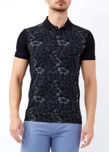 ADZE - Erkek Siyah Çiçek Baskılı Slim Fit Polo Yaka Tişört