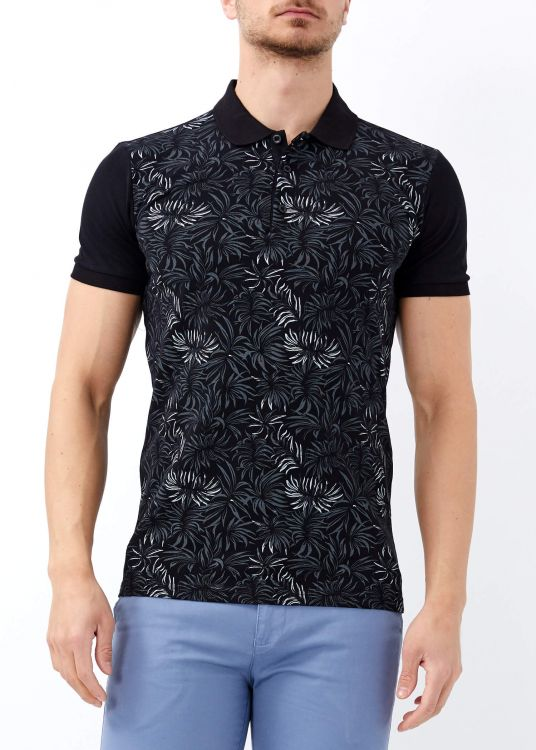 Erkek Siyah Çiçek Baskılı Slim Fit Polo Yaka Tişört