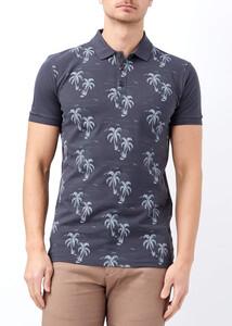 ADZE - Erkek Antrasit Palmiye Desenli Slim Fit Polo Yaka Tişört