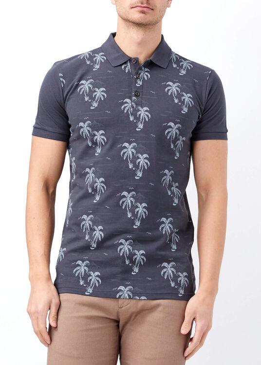 Erkek Antrasit Palmiye Desenli Slim Fit Polo Yaka Tişört