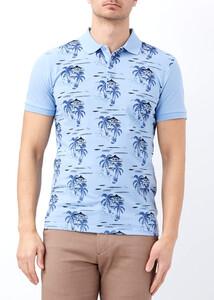 ADZE - Erkek Mavi Palmiye Desenli Slim Fit Polo Yaka Tişört