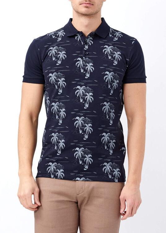 Erkek Lacivert Palmiye Desenli Slim Fit Polo Yaka Tişört