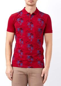 ADZE - Erkek Bordo Palmiye Desenli Slim Fit Polo Yaka Tişört