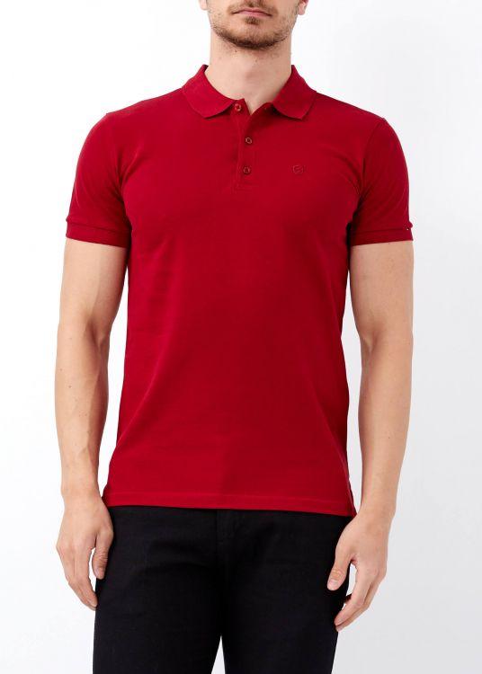 Erkek Bordo Düz Slim Fit Polo Yaka Tişört