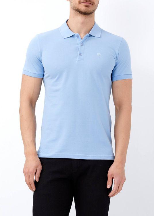 Erkek Mavi Düz Slim Fit Polo Yaka Tişört
