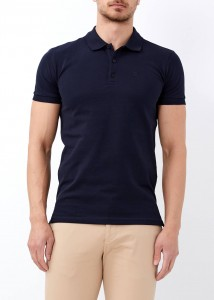 ADZE - Erkek Lacivert Düz Slim Fit Polo Yaka Tişört