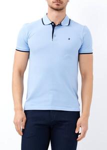 ADZE TOPTAN - Toptan Erkek Açık Mavi Slim Fit Basic Polo Yaka Tişört