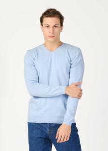 ADZE TOPTAN - Toptan Erkek Açık Mavi V Yaka Basic Kazak