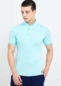 ADZE TOPTAN - Toptan Erkek Açık Yeşil Hakim Yaka Düğmeli T-shirt