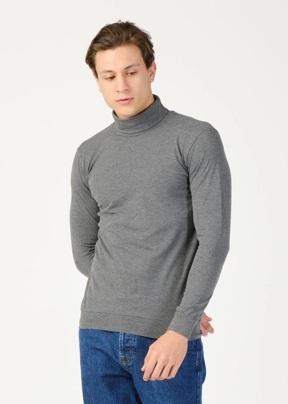 Toptan Erkek Antrasıt Balıkçı Yaka Basic Sweatshirt