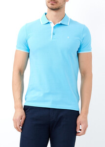 ADZE TOPTAN - Toptan Erkek Aqua Mavi Slim Fit Basic Polo Yaka Tişört