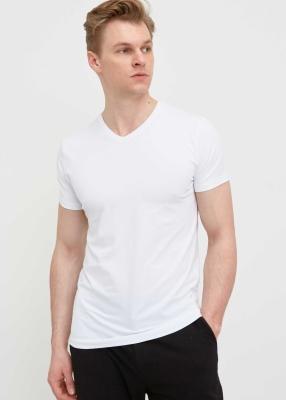 ADZE TOPTAN - Toptan Erkek Beyaz V Yaka Likralı Tişört