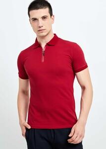 ADZE TOPTAN - Toptan Erkek Bordo Fermuarlı Basic T-shirt